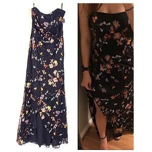 Wow & Forever Black Floral Sequin Strapless Dress